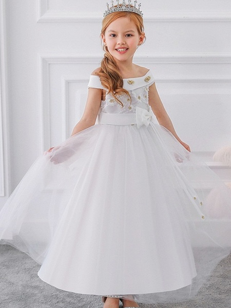 Princess / Ball Gown Floor Length Wedding / Party Flower Girl Dresses - Tulle Short Sleeve Off Shoulder With Sash / Ribbon / Bow(S) / Appliques_3