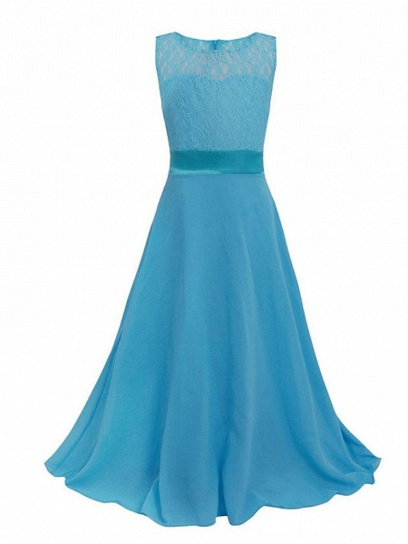 Princess / Ball Gown Maxi Party / Formal Evening / Pageant Flower Girl Dresses - Tulle / Poly&Cotton Blend Sleeveless Jewel Neck With Lace / Solid_13