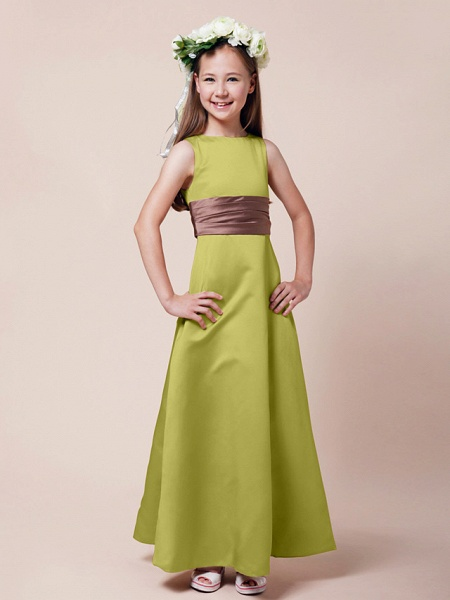 Princess / A-Line Bateau Neck Floor Length Satin Junior Bridesmaid Dress With Sash / Ribbon / Ruched / Spring / Summer / Fall / Winter / Apple_15