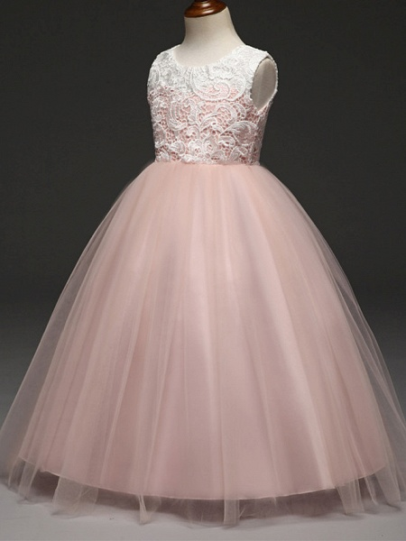 Ball Gown Floor Length Wedding / Party Flower Girl Dresses - Lace / Tulle Sleeveless Jewel Neck With Tiered_4