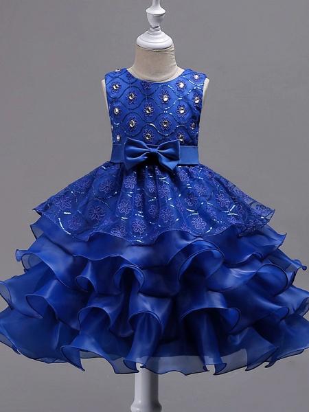 Princess Midi Wedding / Birthday / Pageant Flower Girl Dresses - Organza / Satin Sleeveless Jewel Neck With Bow(S) / Embroidery / Crystals / Rhinestones_9