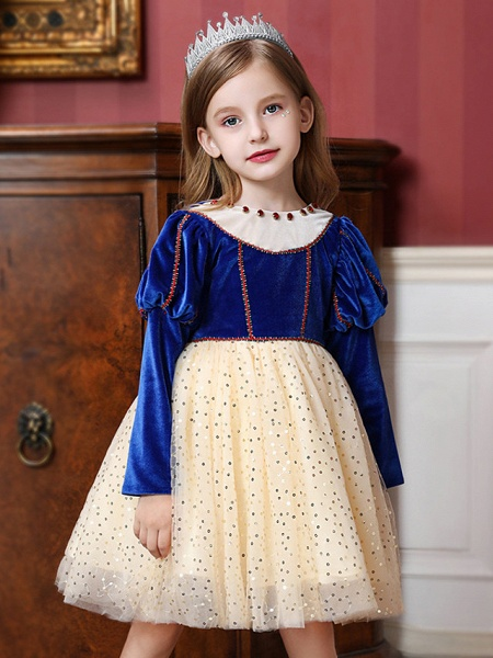 Princess / Ball Gown Knee Length Wedding / Party Flower Girl Dresses - Tulle / Velvet Long Sleeve Jewel Neck With Crystals / Paillette_2
