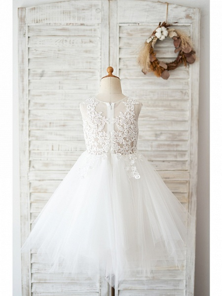 Ball Gown Knee Length Wedding / Birthday Flower Girl Dresses - Lace / Tulle Sleeveless Jewel Neck With Lace_2