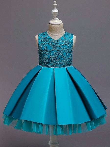 Princess / Ball Gown Knee Length Wedding / Party Flower Girl Dresses - Tulle Sleeveless V Neck With Sash / Ribbon / Bow(S) / Appliques_5