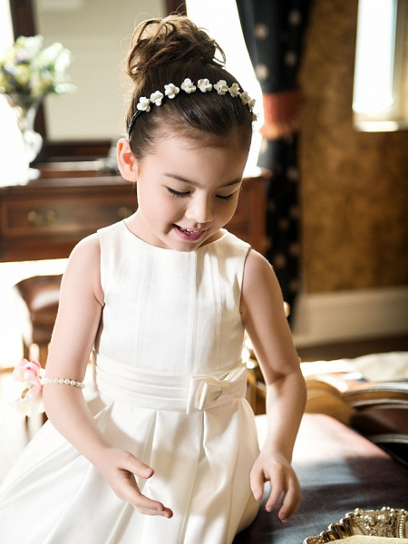 Princess / A-Line Tea Length Wedding / First Communion Flower Girl Dresses - Satin Sleeveless Jewel Neck With Bow(S) / Ruched_8