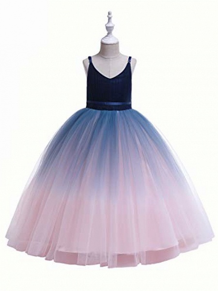 Girls Lace Bridesmaid Dress Long A Line Wedding Pageant Dresses Flower Girls Princess Ombre Tulle Party Gown Age 3-16Y &Amp; # 40; 3T - 4T, V-Navy Blue&Amp; Blush Pink&Amp;;_2