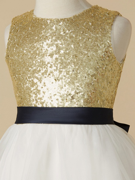 A-Line Ankle Length Pageant Flower Girl Dresses - Tulle / Sequined Sleeveless Jewel Neck With Sash / Ribbon / Bow(S)_4