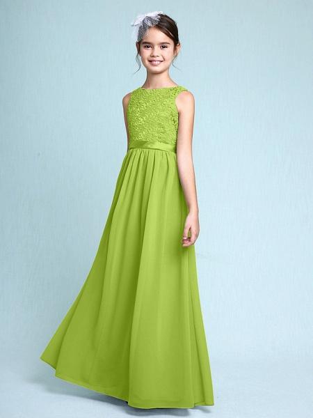 Sheath / Column Bateau Neck Floor Length Chiffon / Lace Junior Bridesmaid Dress With Lace / Natural_29