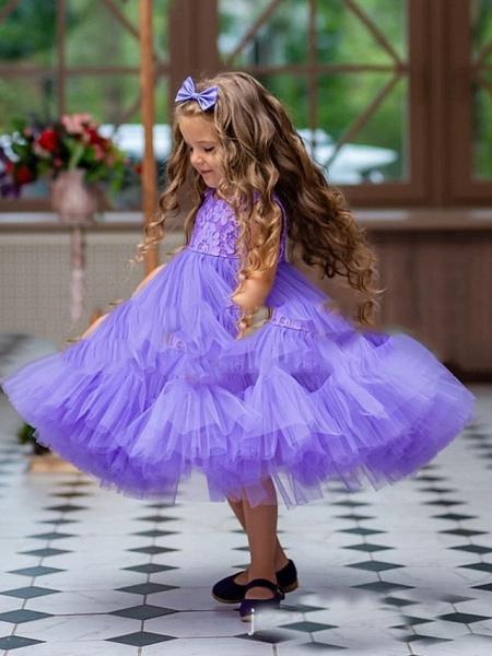 Princess / A-Line Floor Length Party / Birthday Flower Girl Dresses - Tulle Sleeveless Jewel Neck With Pleats / Cascading Ruffles_2