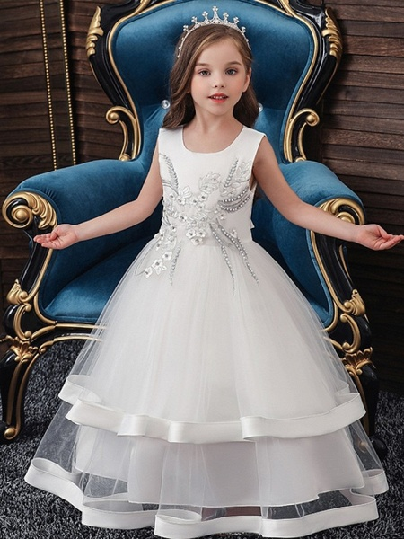 Princess / Ball Gown Floor Length Wedding / Party Flower Girl Dresses - Tulle Sleeveless Jewel Neck With Bow(S) / Appliques / Cascading Ruffles_4