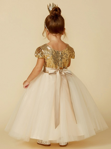 Princess Floor Length Wedding / Party / Pageant Flower Girl Dresses - Tulle / Sequined Short Sleeve Jewel Neck With Sash / Ribbon / Sequin_2