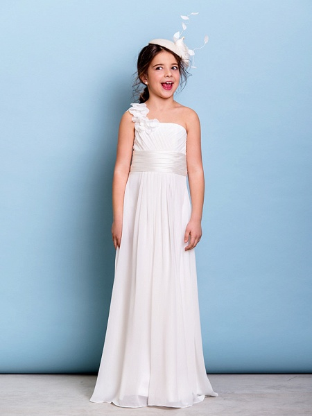 A-Line One Shoulder Floor Length Chiffon Junior Bridesmaid Dress With Sash / Ribbon / Criss Cross / Ruched / Natural_2
