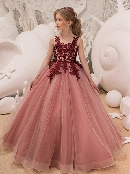 Ball Gown Floor Length Wedding / Party Flower Girl Dresses - Tulle Sleeveless Jewel Neck With Bow(S) / Appliques_1