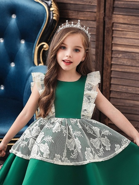 Princess / Ball Gown Knee Length Wedding / Party Flower Girl Dresses - Satin / Tulle Cap Sleeve Jewel Neck With Bow(S) / Color Block_3