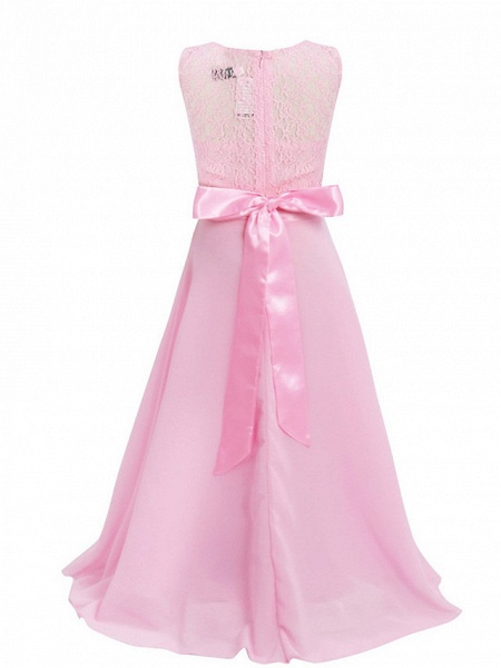 Princess / Ball Gown Maxi Party / Formal Evening / Pageant Flower Girl Dresses - Tulle / Poly&Cotton Blend Sleeveless Jewel Neck With Lace / Solid_25