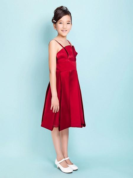Princess / A-Line Spaghetti Strap Knee Length Satin Junior Bridesmaid Dress With Sash / Ribbon / Draping / Spring / Summer / Fall / Hourglass / Inverted Triangle_2