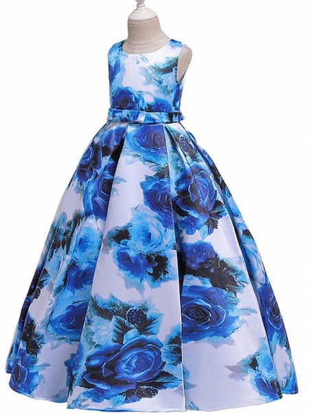 A-Line Round Floor Length Cotton Junior Bridesmaid Dress With Bow(S) / Pattern / Print / Ruching_4