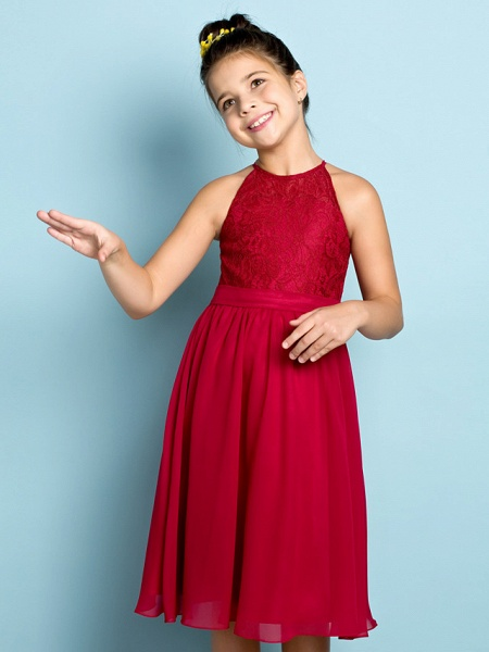 A-Line Jewel Neck Knee Length Chiffon / Lace Junior Bridesmaid Dress With Lace / Natural / Mini Me_6
