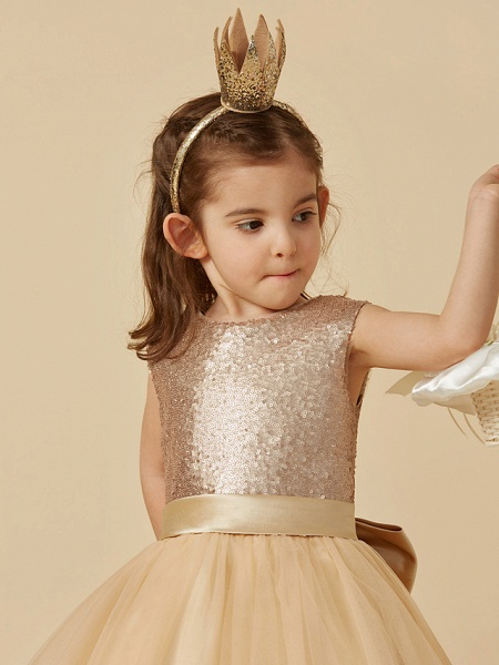 Princess Ankle Length Pageant Flower Girl Dresses - Tulle / Sequined Sleeveless Jewel Neck With Sash / Ribbon / Bow(S)_5