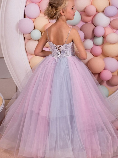Ball Gown Floor Length Event / Party / Formal Evening Flower Girl Dresses - Polyester Sleeveless Spaghetti Strap With Tier / Appliques_2