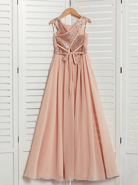 A-Line Jewel Neck Maxi Chiffon Junior Bridesmaid Dress With Lace / Sash / Ribbon_2