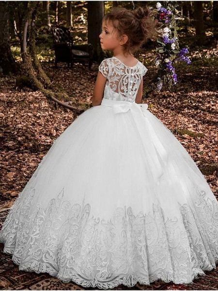 Ball Gown Floor Length Wedding / Party Flower Girl Dresses - Lace / Tulle Sleeveless Jewel Neck With Pleats / Solid_2