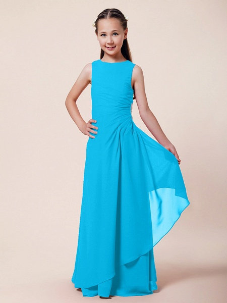 A-Line / Sheath / Column Bateau Neck Floor Length Chiffon Junior Bridesmaid Dress With Beading / Side Draping / Spring / Summer / Fall / Winter / Wedding Party_28