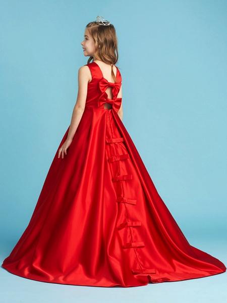 Princess / A-Line Jewel Neck Floor Length Satin Junior Bridesmaid Dress With Bow(S) / Pleats / Crystals_2