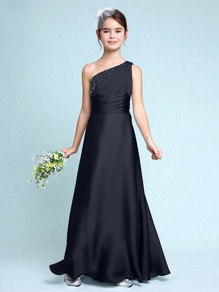 Sheath / Column One Shoulder Floor Length Chiffon Satin Junior Bridesmaid Dress With Ruched / Side Draping / Natural_37