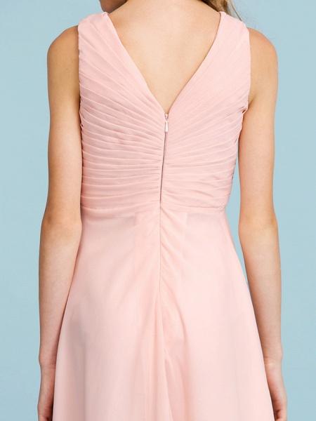 Sheath / Column V Neck Floor Length Chiffon Junior Bridesmaid Dress With Criss Cross / Pleats / Wedding Party / Open Back_9