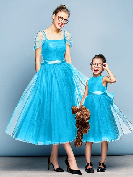 Princess Tea Length Party / Prom / Formal Evening Flower Girl Dresses - Tulle Short Sleeve Square Neck With Bow(S) / Ruched / Elegant_31
