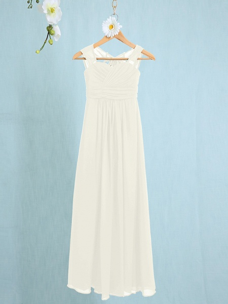 Sheath / Column Straps Ankle Length Chiffon Junior Bridesmaid Dress With Ruched / Natural_17