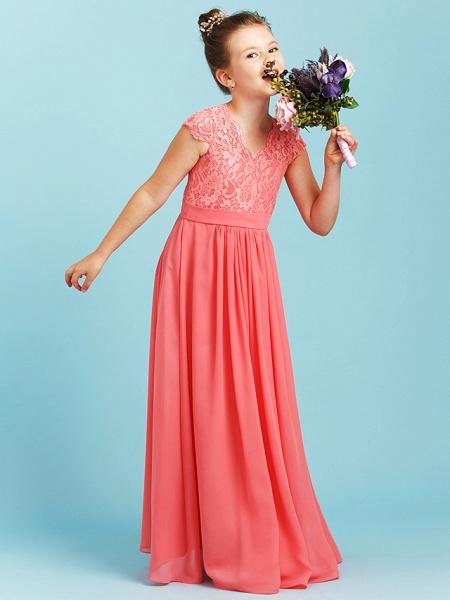 Princess / A-Line V Neck Floor Length Chiffon / Lace Junior Bridesmaid Dress With Sash / Ribbon / Pleats / Wedding Party_1