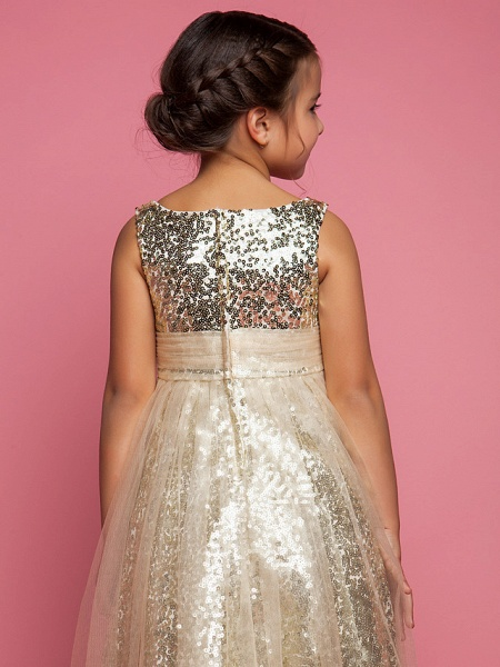 Princess / A-Line Tea Length Tulle Sleeveless Jewel Neck With Ruched / Sequin_4