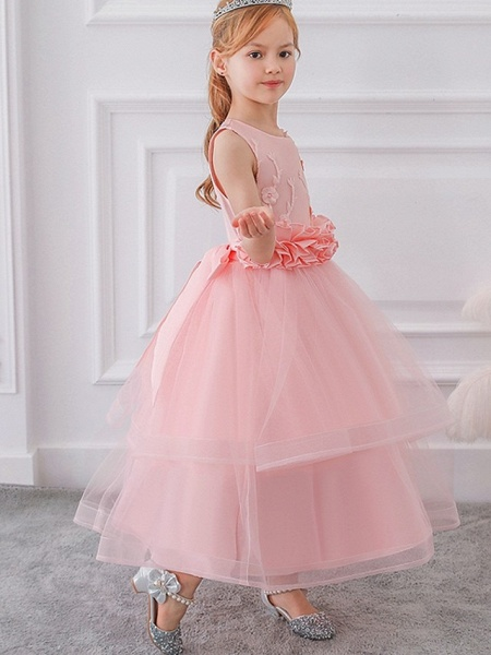 Princess / Ball Gown Ankle Length Wedding / Party Flower Girl Dresses - Tulle Sleeveless Jewel Neck With Sash / Ribbon / Bow(S) / Appliques_6