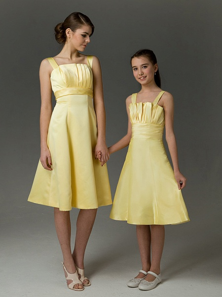 Princess / A-Line Straps Knee Length Taffeta Junior Bridesmaid Dress With Ruched / Crystals / Spring / Summer / Fall / Apple / Hourglass_5