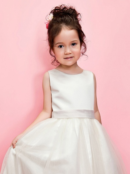 Ball Gown / A-Line Ankle Length Wedding / First Communion Flower Girl Dresses - Satin / Tulle Sleeveless Jewel Neck With Sash / Ribbon / Bow(S) / Spring / Summer / Fall / Winter_3