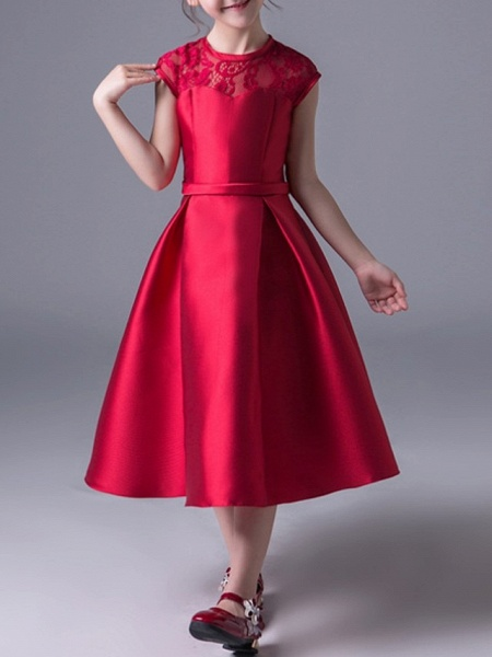 A-Line Jewel Neck Ankle Length Poly&Cotton Blend Junior Bridesmaid Dress With Lace_1