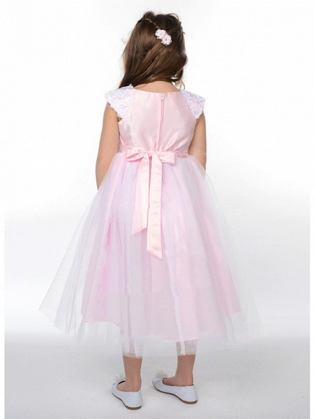 A-Line Ankle Length Wedding / Party Flower Girl Dresses - Lace / Satin / Tulle Sleeveless Jewel Neck With Bow(S)_3