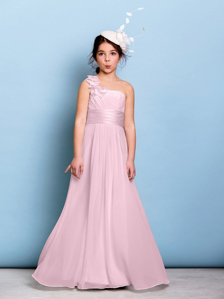 A-Line One Shoulder Floor Length Chiffon Junior Bridesmaid Dress With Sash / Ribbon / Criss Cross / Ruched / Natural_9