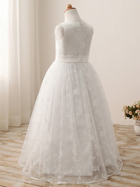 Ball Gown Long Length Wedding / First Communion / Birthday Flower Girl Dresses - Tulle / Cotton Sleeveless Jewel Neck With Embroidery / Solid_2