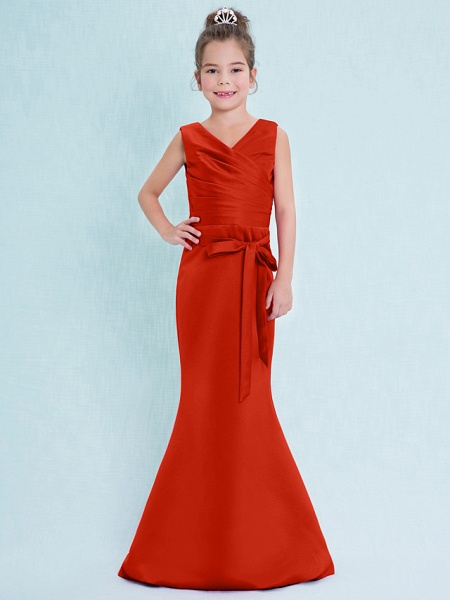 Mermaid / Trumpet V Neck Floor Length Satin Junior Bridesmaid Dress With Criss Cross / Natural_15