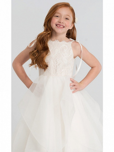A-Line Tea Length Wedding Flower Girl Dresses - Lace / Satin / Tulle Sleeveless Scalloped Neckline With Tier / Solid_2
