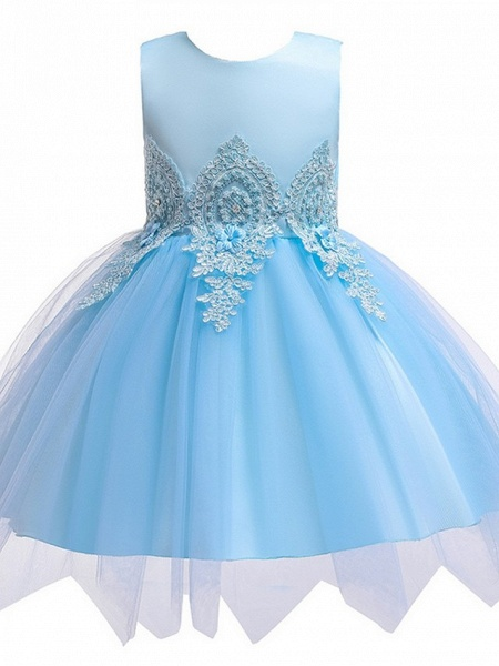Princess / Ball Gown Knee Length Wedding / Party Flower Girl Dresses - Lace / Satin / Tulle Sleeveless Jewel Neck With Appliques_6
