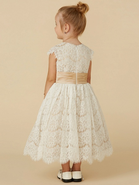 A-Line Tea Length Pageant Flower Girl Dresses - Lace / Taffeta Short Sleeve Jewel Neck With Sash / Ribbon / Bow(S) / Spring / Summer / Fall_2