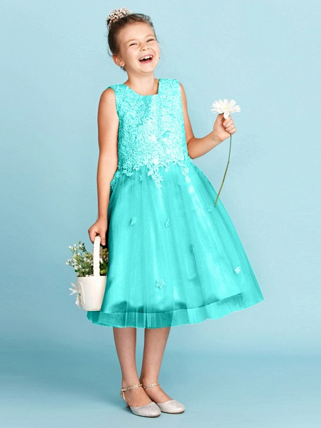 Princess / A-Line Jewel Neck Knee Length Lace / Tulle Junior Bridesmaid Dress With Bow(S) / Appliques / Wedding Party_13
