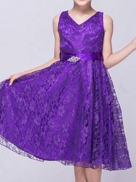 A-Line V Neck Knee Length Lace Junior Bridesmaid Dress With Sash / Ribbon_7