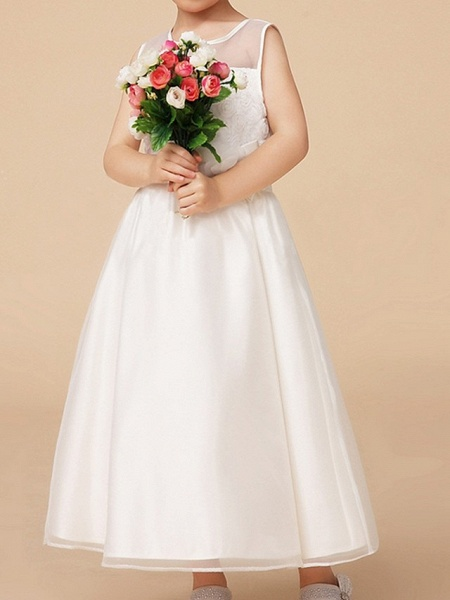 A-Line Ankle Length First Communion Flower Girl Dresses - Polyester Sleeveless Jewel Neck With Bow(S)_2