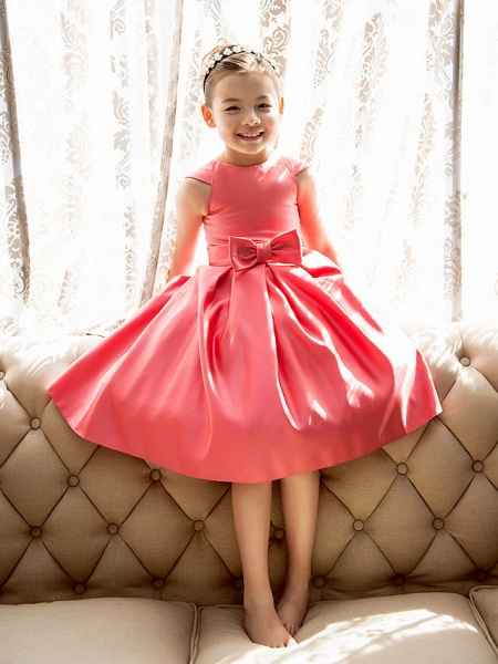 Princess / A-Line Tea Length Pageant Flower Girl Dresses - Satin Short Sleeve Jewel Neck With Bow(S)_3