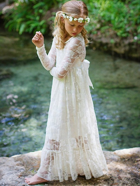 Sheath / Column Long Length Engagement Party / Birthday / Pageant Flower Girl Dresses - Lace Long Sleeve Jewel Neck With Lace / Belt_1